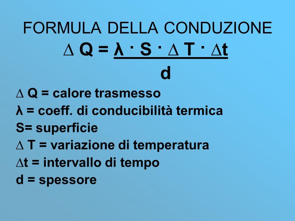 FORMULA DELLA CONDUZIONE Q = λ · S · T · t d Q = calore trasmesso λ = coeff.