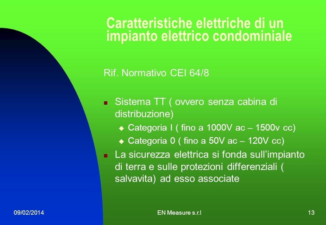 09/02/2014EN Measure s.r.l13 Caratteristiche elettriche di un impianto elettrico condominiale Rif. Normativo CEI 64/8 Sistema TT ( ovvero senza cabina