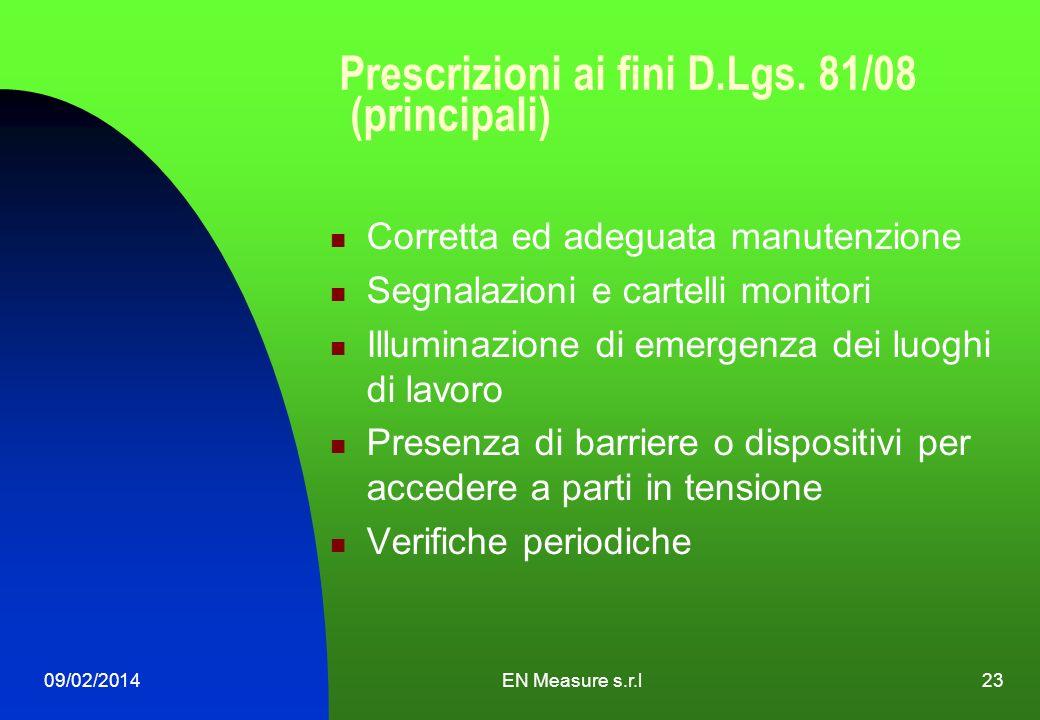 09/02/2014EN Measure s.r.l23 Prescrizioni ai fini D.Lgs. 81/08 (principali) Corretta ed adeguata manutenzione Segnalazioni e cartelli monitori Illumin