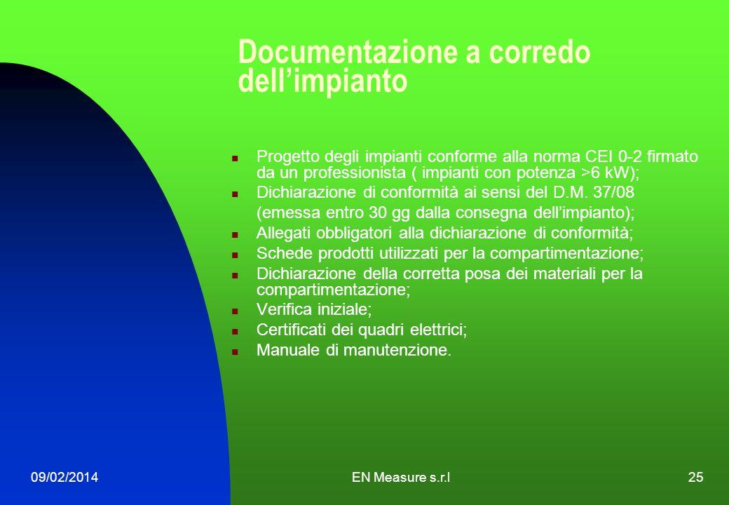 09/02/2014EN Measure s.r.l25 Documentazione a corredo dellimpianto Progetto degli impianti conforme alla norma CEI 0-2 firmato da un professionista (