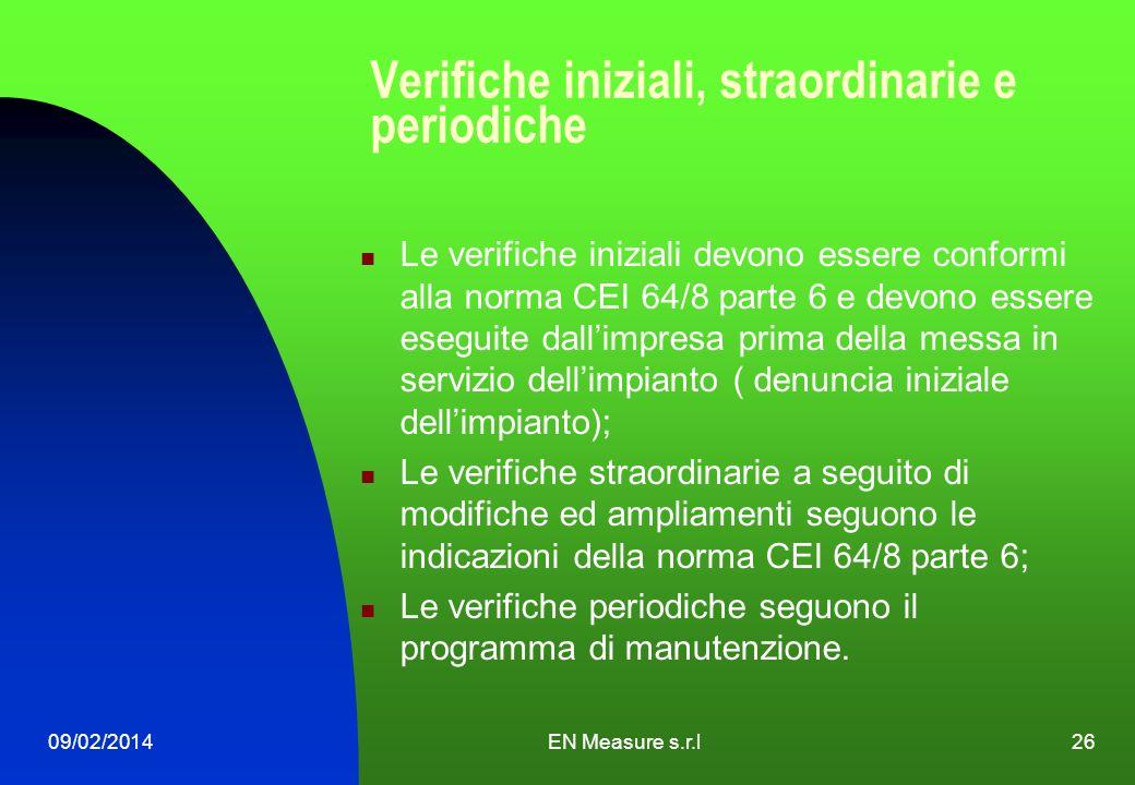 09/02/2014EN Measure s.r.l26 Verifiche iniziali, straordinarie e periodiche Le verifiche iniziali devono essere conformi alla norma CEI 64/8 parte 6 e