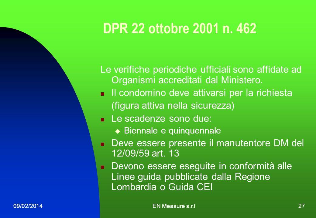 09/02/2014EN Measure s.r.l27 DPR 22 ottobre 2001 n. 462 Le verifiche periodiche ufficiali sono affidate ad Organismi accreditati dal Ministero. Il con