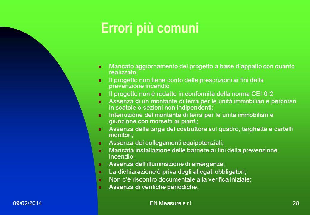 09/02/2014EN Measure s.r.l28 Errori più comuni Mancato aggiornamento del progetto a base dappalto con quanto realizzato; Il progetto non tiene conto d