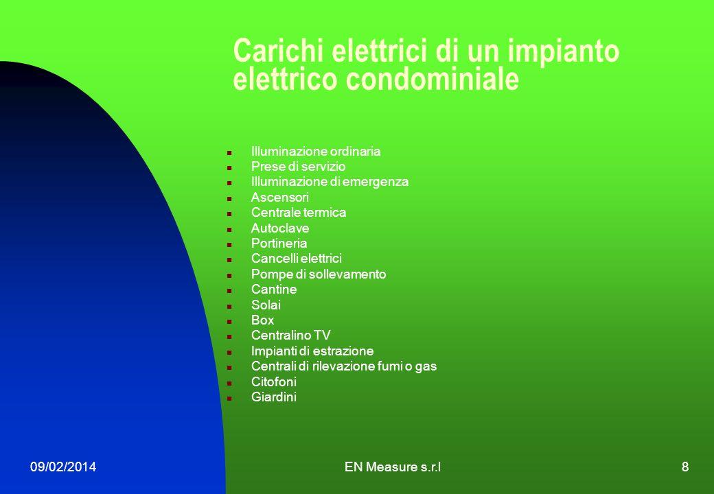 09/02/2014EN Measure s.r.l8 Carichi elettrici di un impianto elettrico condominiale Illuminazione ordinaria Prese di servizio Illuminazione di emergen