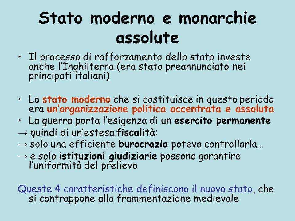 Stato moderno e monarchie assolute Il processo di rafforzamento dello stato investe anche lInghilterra (era stato preannunciato nei principati italian