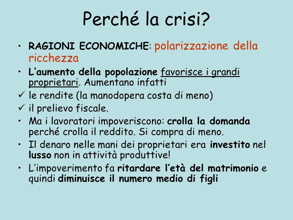 Perché la crisi? RAGIONI ECONOMICHE: polarizzazione della ricchezza Laumento della popolazione favorisce i grandi proprietari. Aumentano infatti le re