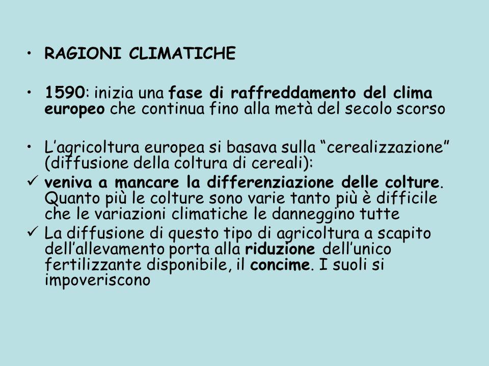 RAGIONI CLIMATICHE 1590: inizia una fase di raffreddamento del clima europeo che continua fino alla metà del secolo scorso Lagricoltura europea si bas