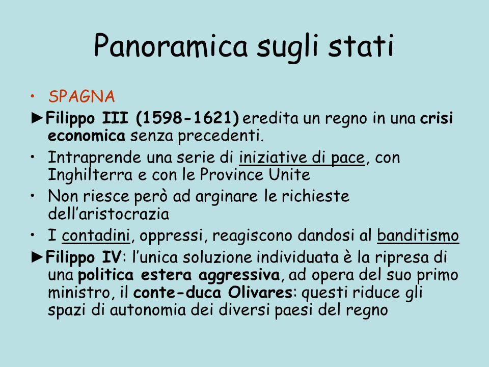 Panoramica sugli stati SPAGNA Filippo III (1598-1621) eredita un regno in una crisi economica senza precedenti. Intraprende una serie di iniziative di