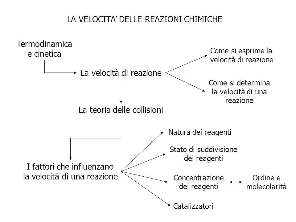 LA VELOCITA DELLE REAZIONI CHIMICHE La velocità di reazione La teoria delle collisioni I fattori che influenzano la velocità di una reazione Come si e