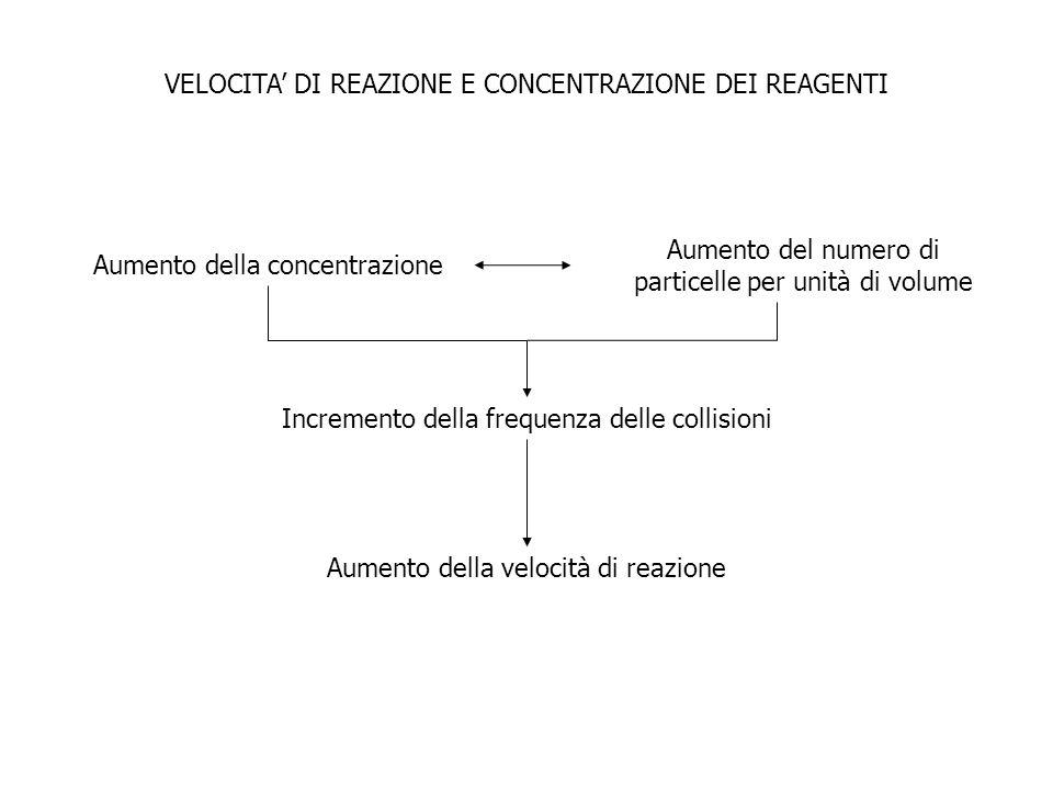 Aumento della concentrazione VELOCITA DI REAZIONE E CONCENTRAZIONE DEI REAGENTI Aumento del numero di particelle per unità di volume Incremento della