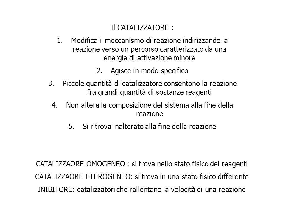 Il CATALIZZATORE : 1.Modifica il meccanismo di reazione indirizzando la reazione verso un percorso caratterizzato da una energia di attivazione minore
