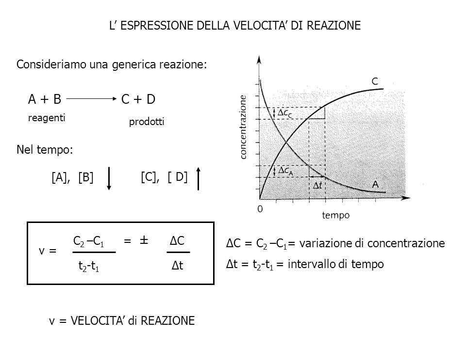 L ESPRESSIONE DELLA VELOCITA DI REAZIONE Consideriamo una generica reazione: A + BC + D reagenti prodotti Nel tempo: [A], [B] [C], [ D] ΔC = C 2 –C 1