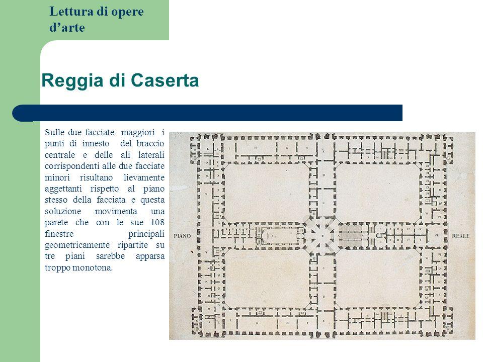 Lettura di opere darte Reggia di Caserta Sulle due facciate maggiori i punti di innesto del braccio centrale e delle ali laterali corrispondenti alle