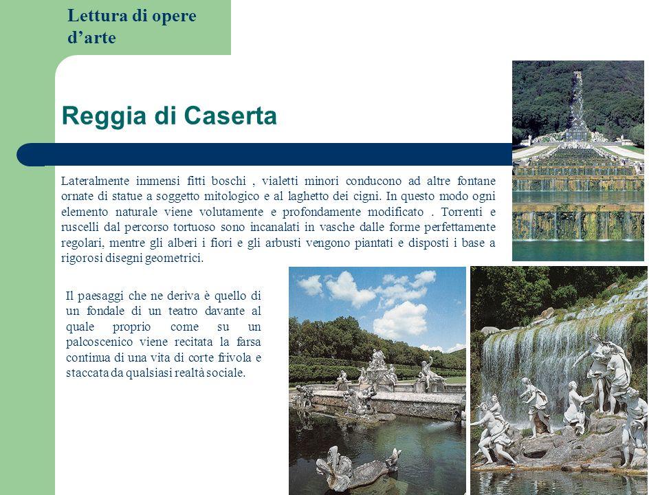 Lettura di opere darte Reggia di Caserta Lateralmente immensi fitti boschi, vialetti minori conducono ad altre fontane ornate di statue a soggetto mit