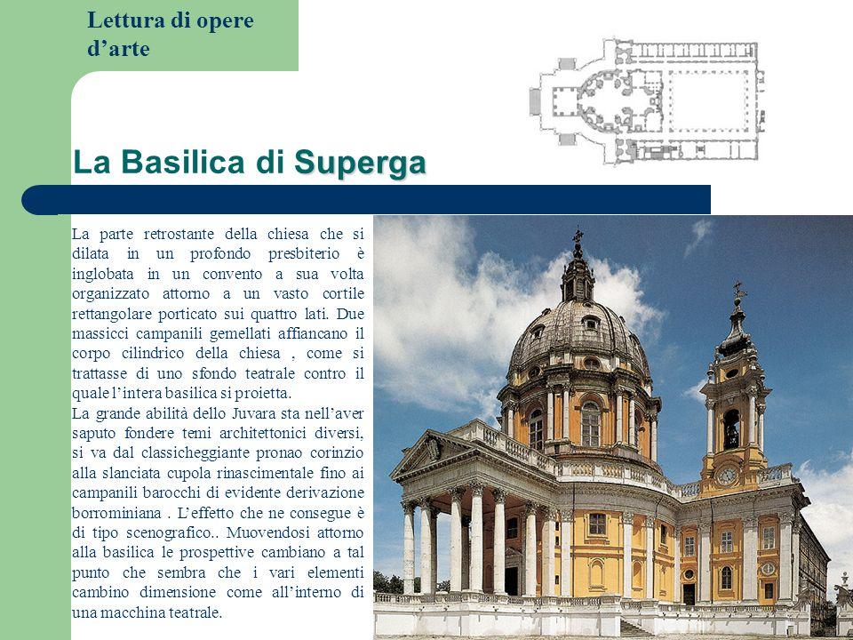 Lettura di opere darte Superga La Basilica di Superga La parte retrostante della chiesa che si dilata in un profondo presbiterio è inglobata in un con
