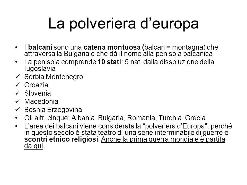 La polveriera deuropa I balcani sono una catena montuosa (balcan = montagna) che attraversa la Bulgaria e che dà il nome alla penisola balcanica La pe