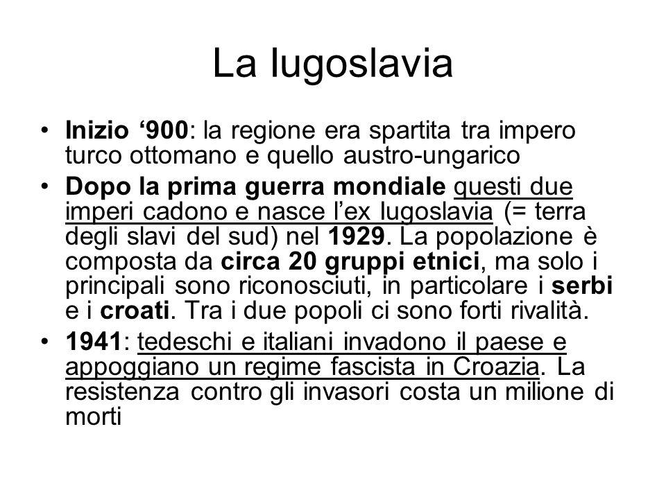 La Iugoslavia Inizio 900: la regione era spartita tra impero turco ottomano e quello austro-ungarico Dopo la prima guerra mondiale questi due imperi c