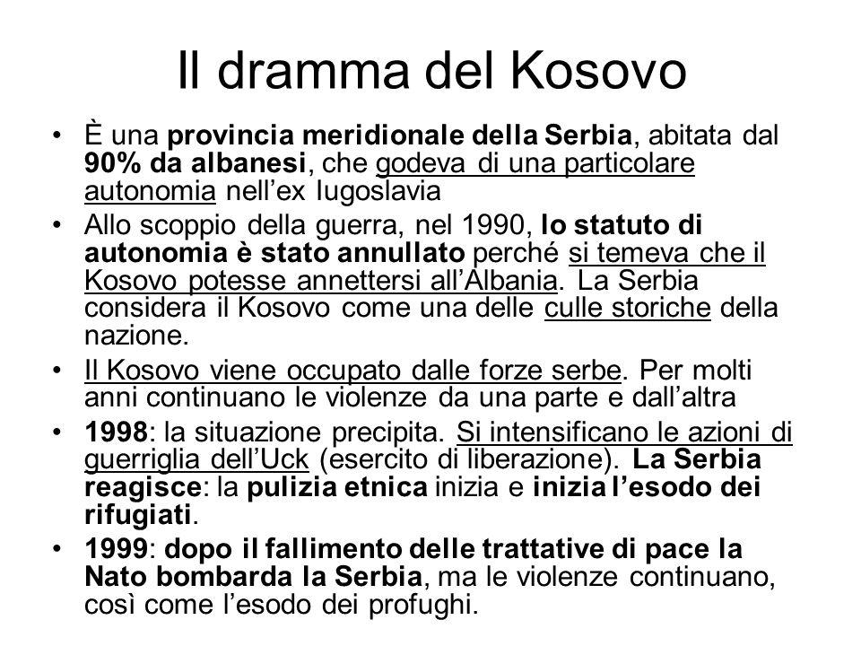 Il dramma del Kosovo È una provincia meridionale della Serbia, abitata dal 90% da albanesi, che godeva di una particolare autonomia nellex Iugoslavia