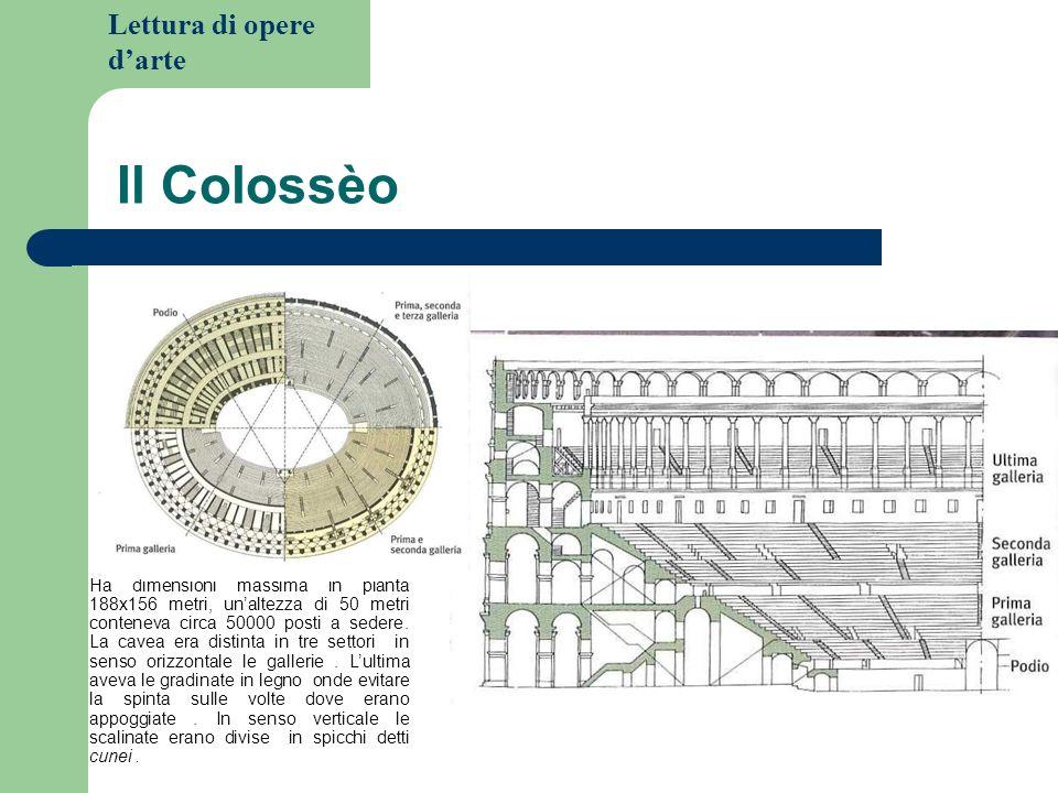 Lettura di opere darte Il Colossèo Ha dimensioni massima in pianta 188x156 metri, unaltezza di 50 metri conteneva circa 50000 posti a sedere.