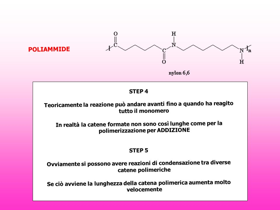 STEP 4 Teoricamente la reazione può andare avanti fino a quando ha reagito tutto il monomero In realtà la catene formate non sono così lunghe come per la polimerizzazione per ADDIZIONE STEP 5 Ovviamente si possono avere reazioni di condensazione tra diverse catene polimeriche Se ciò avviene la lunghezza della catena polimerica aumenta molto velocemente POLIAMMIDE