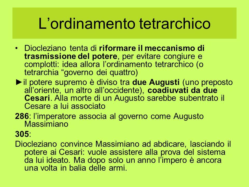 Lordinamento tetrarchico Diocleziano tenta di riformare il meccanismo di trasmissione del potere, per evitare congiure e complotti: idea allora lordin