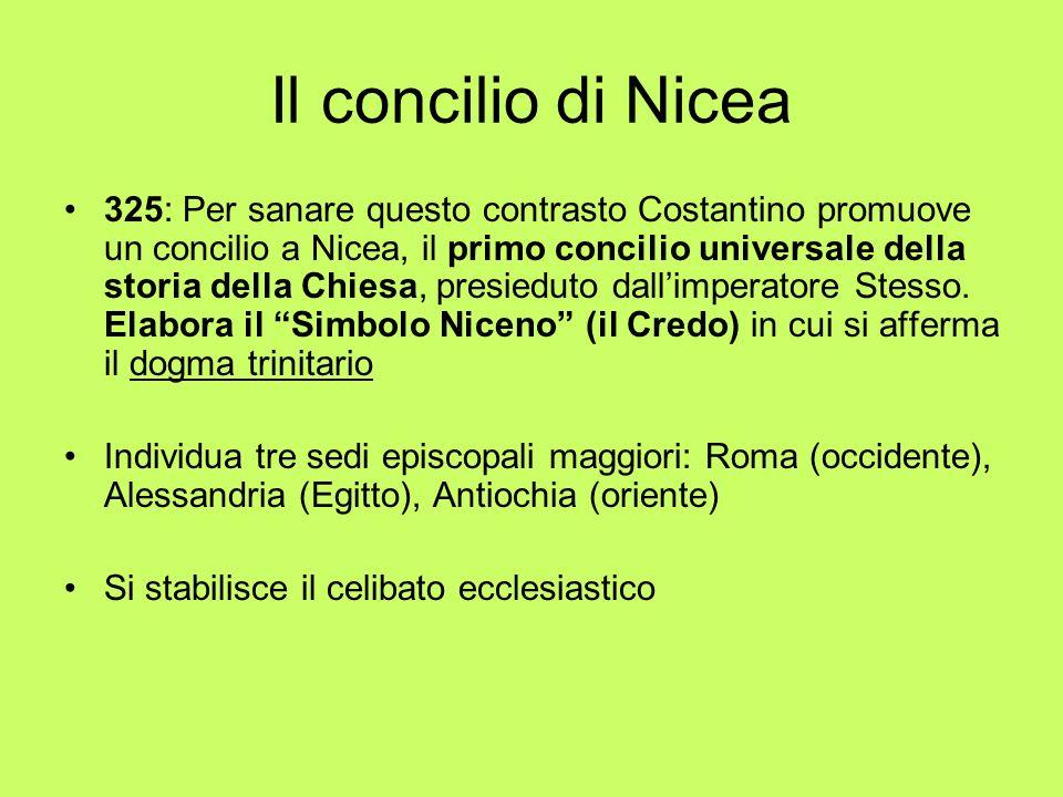 Il concilio di Nicea 325: Per sanare questo contrasto Costantino promuove un concilio a Nicea, il primo concilio universale della storia della Chiesa,
