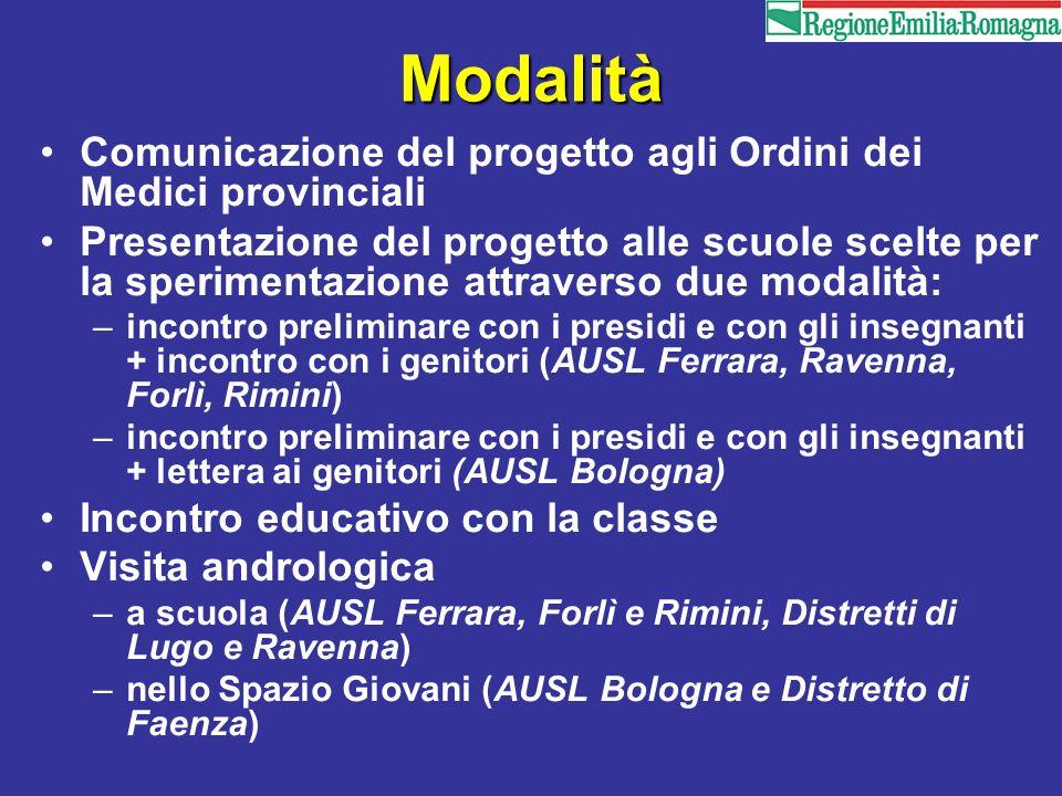 Modalità Comunicazione del progetto agli Ordini dei Medici provinciali Presentazione del progetto alle scuole scelte per la sperimentazione attraverso