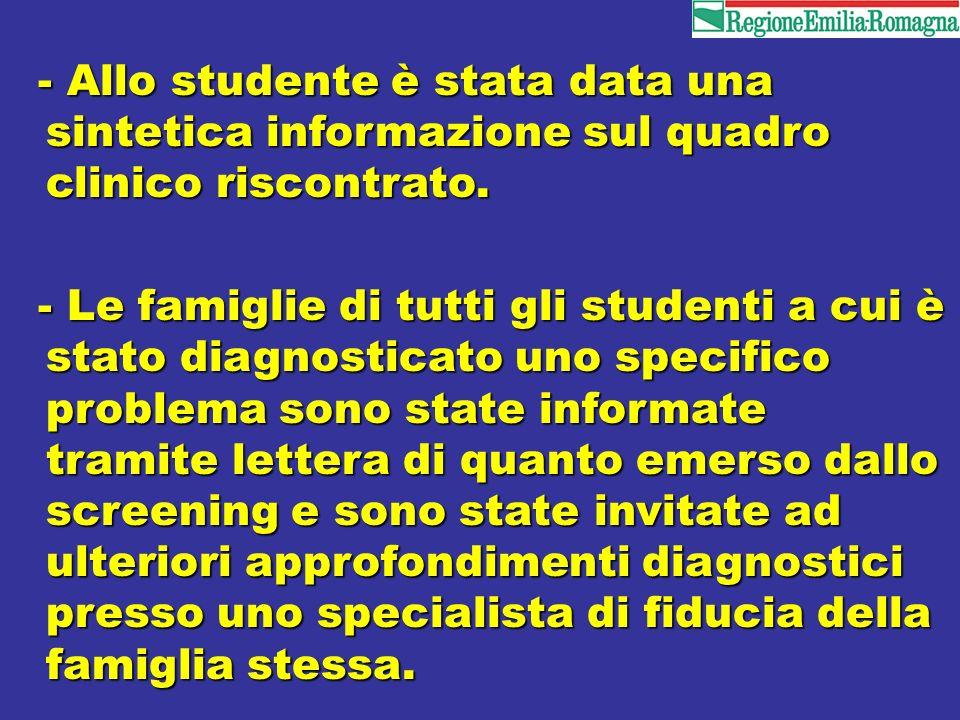 - Allo studente è stata data una sintetica informazione sul quadro clinico riscontrato. - Allo studente è stata data una sintetica informazione sul qu