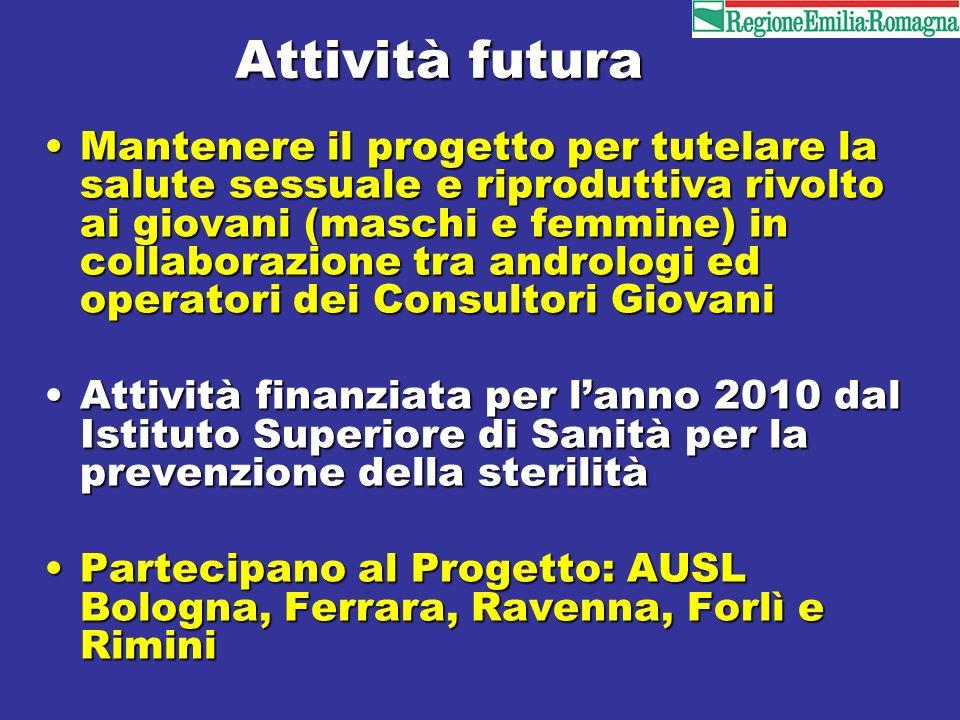 Attività futura Mantenere il progetto per tutelare la salute sessuale e riproduttiva rivolto ai giovani (maschi e femmine) in collaborazione tra andro