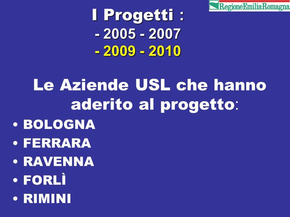 I Progetti : - 2005 - 2007 - 2009 - 2010 Le Aziende USL che hanno aderito al progetto : BOLOGNA FERRARA RAVENNA FORLÌ RIMINI