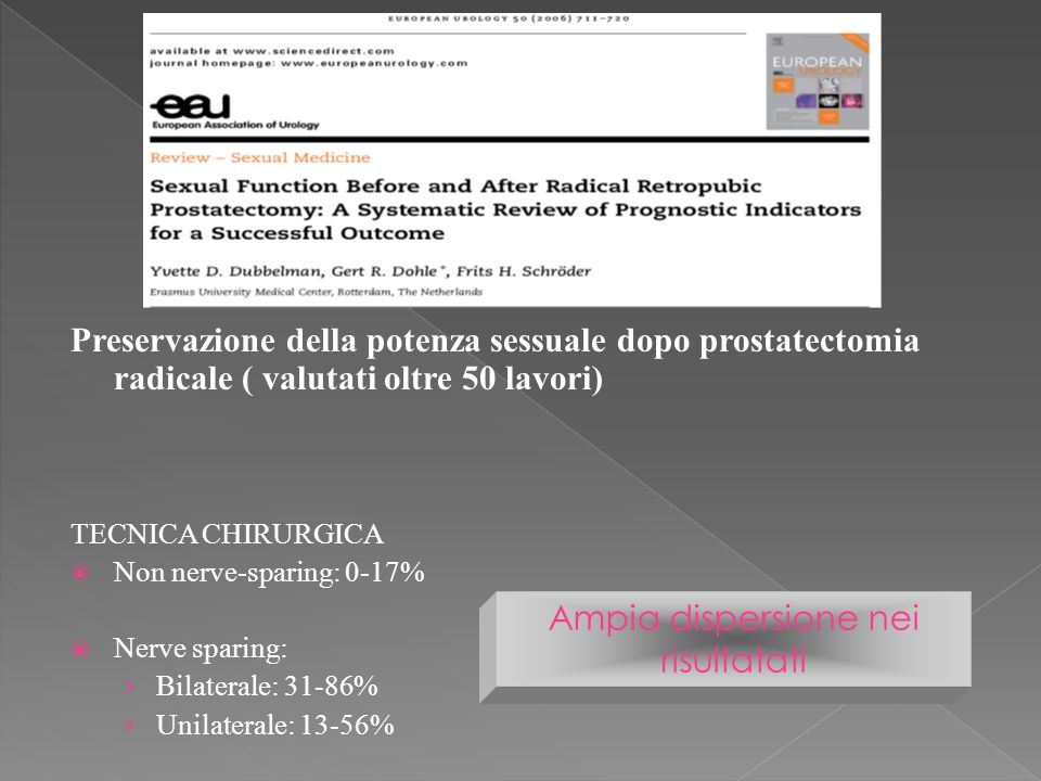 Preservazione della potenza sessuale dopo prostatectomia radicale ( valutati oltre 50 lavori) TECNICA CHIRURGICA Non nerve-sparing: 0-17% Nerve sparing: Bilaterale: 31-86% Unilaterale: 13-56% Ampia dispersione nei risultatati