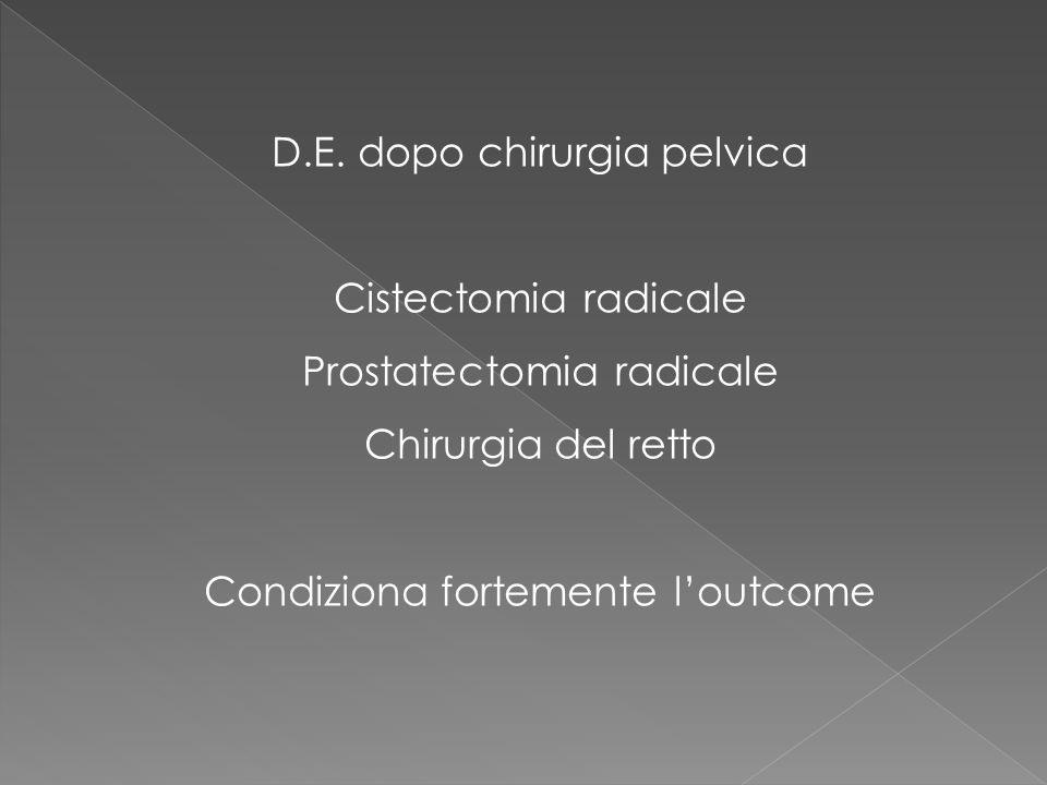 La stretta contiguità anatomica tra il retto ed il plesso pelvico spiega il rischio di disfunzione sessuale durante la chirurgia del colon-retto Il danno può avvenire: in alto, sul plesso ipogastrico superiore (durante la legatura dellarteria mesenterica inferiore); in questo caso ci sarà un deficit delleiaculazione a livello del plesso pelvico o ipogastrico inferiore (durante lisolamento del retto dalla parete laterale della pelvi od in corso di linfadenectomia per neoplasia) A livello dei bundles (in caso di tumori bassi che necessitano dellasportazione della porzione terminale del retto) Nervi cavernosi