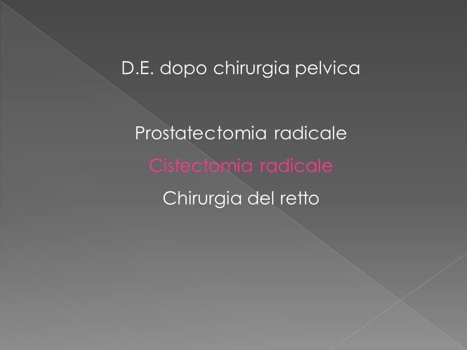 D.E. dopo chirurgia pelvica Prostatectomia radicale Cistectomia radicale Chirurgia del retto