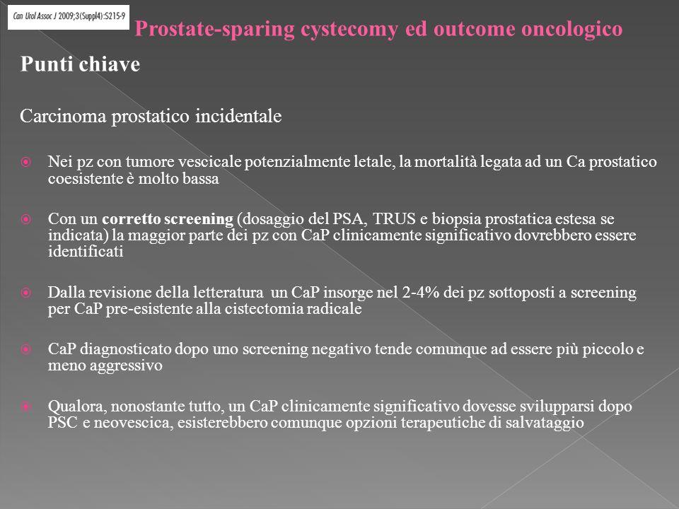 Punti chiave Carcinoma prostatico incidentale Nei pz con tumore vescicale potenzialmente letale, la mortalità legata ad un Ca prostatico coesistente è molto bassa Con un corretto screening (dosaggio del PSA, TRUS e biopsia prostatica estesa se indicata) la maggior parte dei pz con CaP clinicamente significativo dovrebbero essere identificati Dalla revisione della letteratura un CaP insorge nel 2-4% dei pz sottoposti a screening per CaP pre-esistente alla cistectomia radicale CaP diagnosticato dopo uno screening negativo tende comunque ad essere più piccolo e meno aggressivo Qualora, nonostante tutto, un CaP clinicamente significativo dovesse svilupparsi dopo PSC e neovescica, esisterebbero comunque opzioni terapeutiche di salvataggio