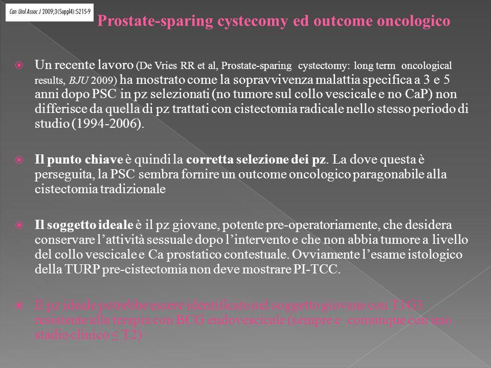 Un recente lavoro (De Vries RR et al, Prostate-sparing cystectomy: long term oncological results, BJU 2009) ha mostrato come la sopravvivenza malattia specifica a 3 e 5 anni dopo PSC in pz selezionati (no tumore sul collo vescicale e no CaP) non differisce da quella di pz trattati con cistectomia radicale nello stesso periodo di studio (1994-2006).