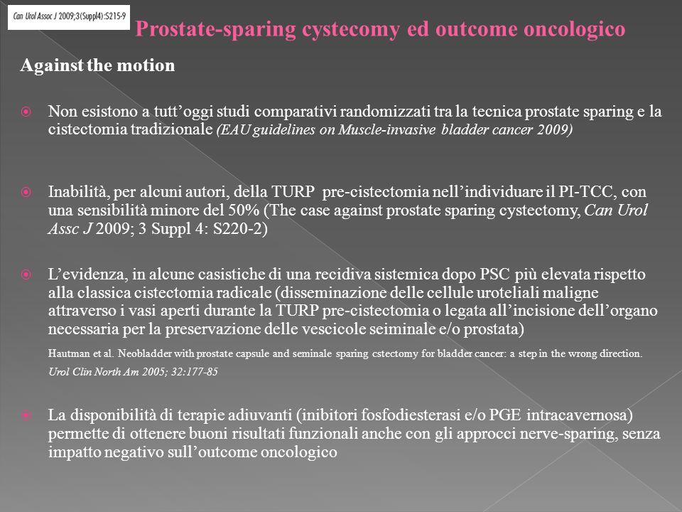 Against the motion Non esistono a tuttoggi studi comparativi randomizzati tra la tecnica prostate sparing e la cistectomia tradizionale (EAU guidelines on Muscle-invasive bladder cancer 2009) Inabilità, per alcuni autori, della TURP pre-cistectomia nellindividuare il PI-TCC, con una sensibilità minore del 50% (The case against prostate sparing cystectomy, Can Urol Assc J 2009; 3 Suppl 4: S220-2) Levidenza, in alcune casistiche di una recidiva sistemica dopo PSC più elevata rispetto alla classica cistectomia radicale (disseminazione delle cellule uroteliali maligne attraverso i vasi aperti durante la TURP pre-cistectomia o legata allincisione dellorgano necessaria per la preservazione delle vescicole seiminale e/o prostata) Hautman et al.