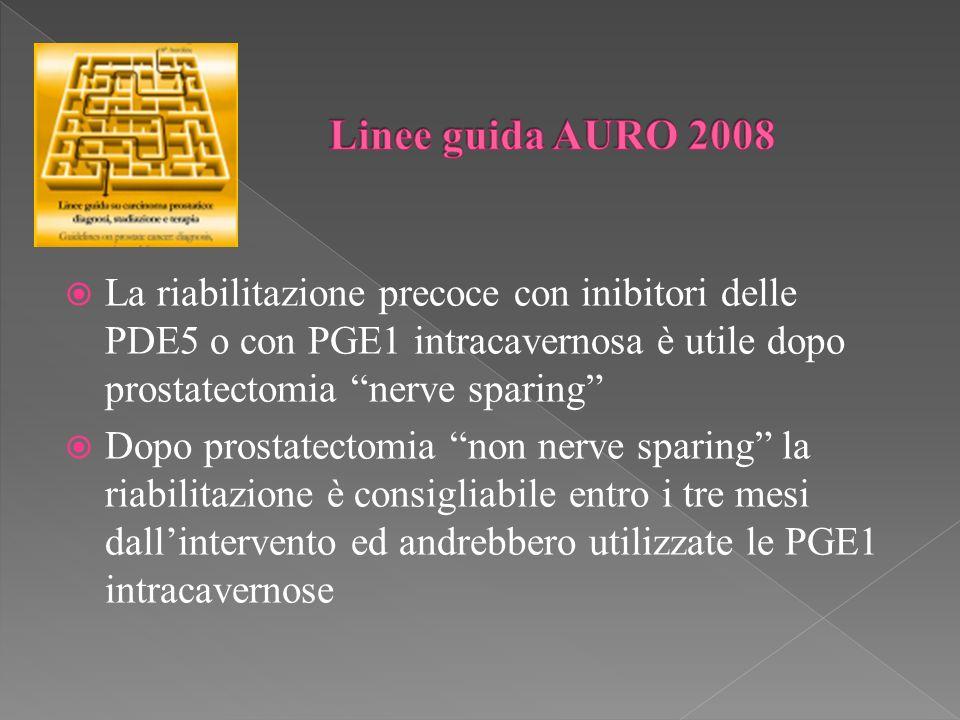 La riabilitazione precoce con inibitori delle PDE5 o con PGE1 intracavernosa è utile dopo prostatectomia nerve sparing Dopo prostatectomia non nerve sparing la riabilitazione è consigliabile entro i tre mesi dallintervento ed andrebbero utilizzate le PGE1 intracavernose