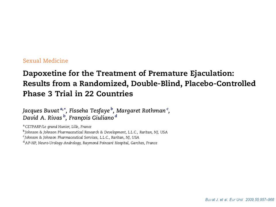 Efficacia e sicurezza del trattamento a lungo termine (24 settimane - 6 mesi) con dapoxetina 30 mg e dapoxetina 60 mg al bisogno in uomini affetti da EP Obiettivo dello studio Buvat J.