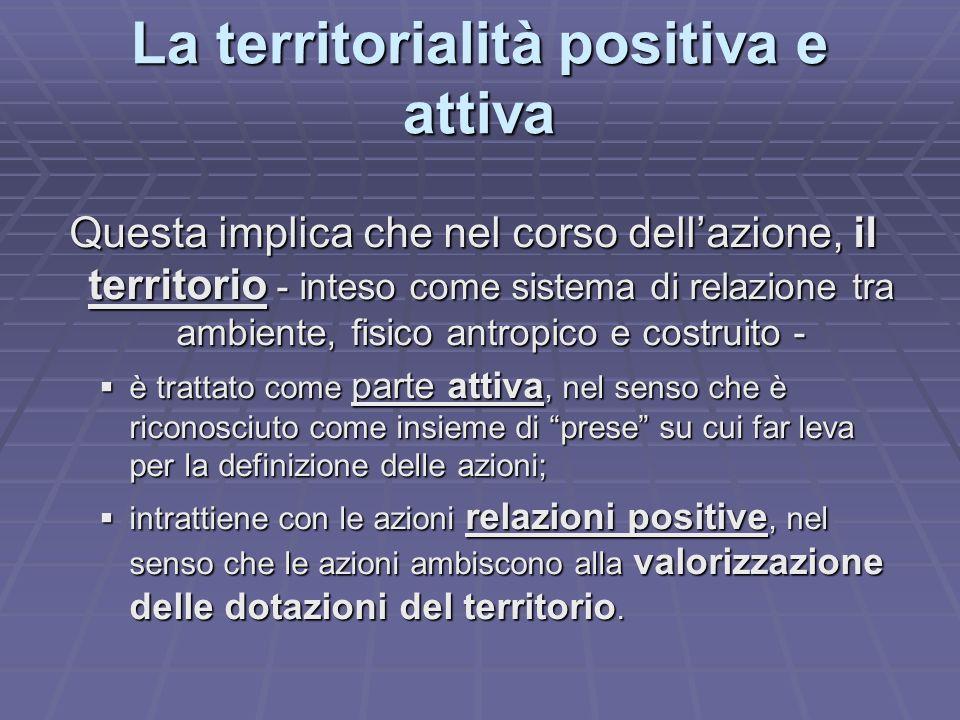 La territorialità positiva e attiva Questa implica che nel corso dellazione, il territorio - inteso come sistema di relazione tra ambiente, fisico ant