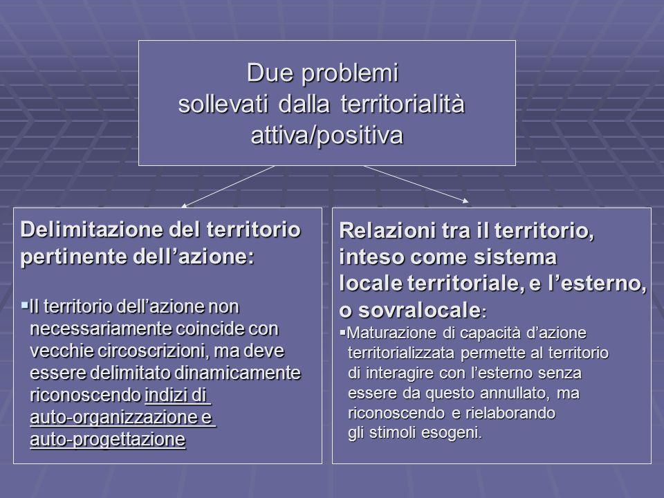Due problemi sollevati dalla territorialità attiva/positiva Delimitazione del territorio pertinente dellazione: Il territorio dellazione non Il territ