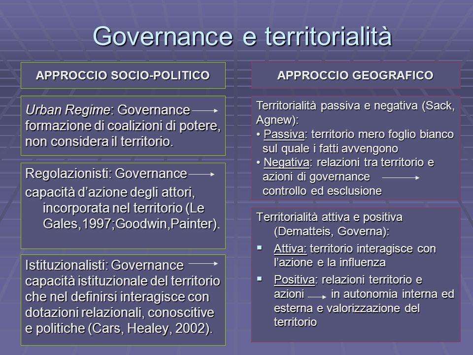 Governance e territorialità Urban Regime: Governance formazione di coalizioni di potere, non considera il territorio. Regolazionisti: Governance capac