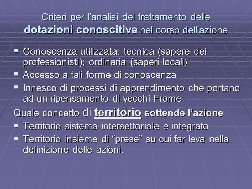 Criteri per lanalisi del trattamento delle dotazioni conoscitive nel corso dellazione Conoscenza utilizzata: tecnica (sapere dei professionisti); ordi