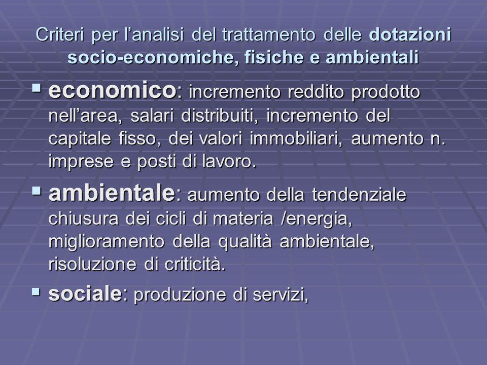 Criteri per lanalisi del trattamento delle dotazioni socio-economiche, fisiche e ambientali economico : incremento reddito prodotto nellarea, salari d