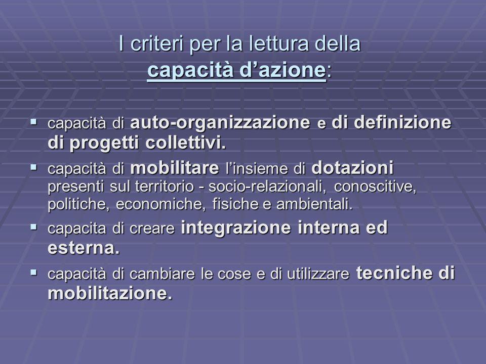 I criteri per la lettura della capacità dazione: capacità di auto-organizzazione e di definizione di progetti collettivi. capacità di auto-organizzazi