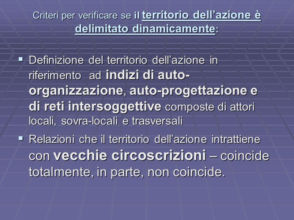 Criteri per verificare se il territorio dellazione è delimitato dinamicamente : Definizione del territorio dellazione in riferimento ad indizi di auto