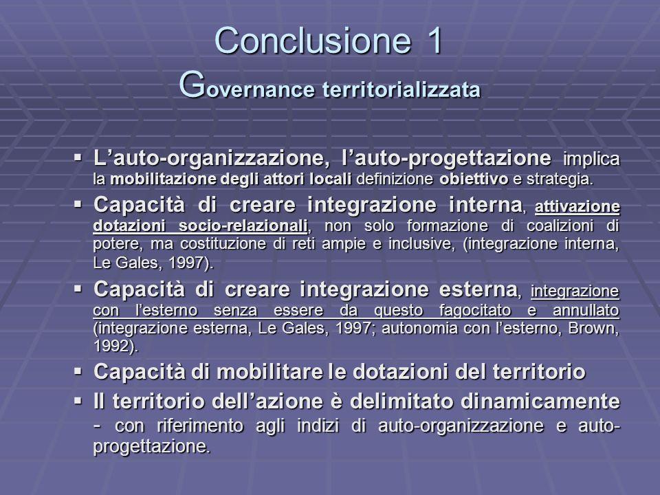 Conclusione 1 G overnance territorializzata Lauto-organizzazione, lauto-progettazione implica la mobilitazione degli attori locali definizione obietti