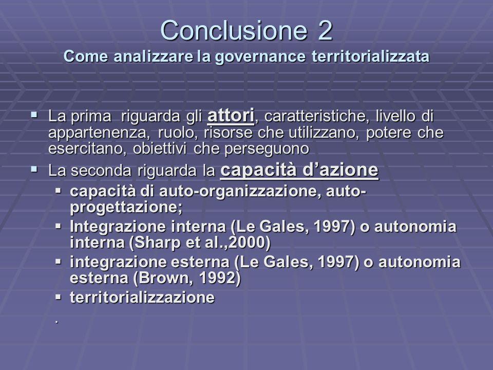 Conclusione 2 Come analizzare la governance territorializzata La prima riguarda gli attori, caratteristiche, livello di appartenenza, ruolo, risorse c