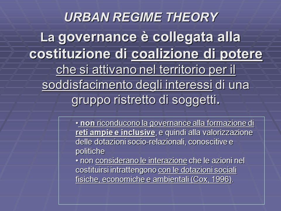 URBAN REGIME THEORY La governance è collegata alla costituzione di coalizione di potere che si attivano nel territorio per il soddisfacimento degli in