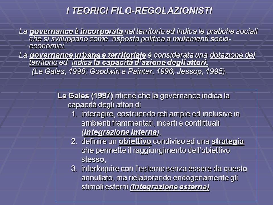 I TEORICI FILO-REGOLAZIONISTI La governance è incorporata nel territorio ed indica le pratiche sociali che si sviluppano come risposta politica a muta