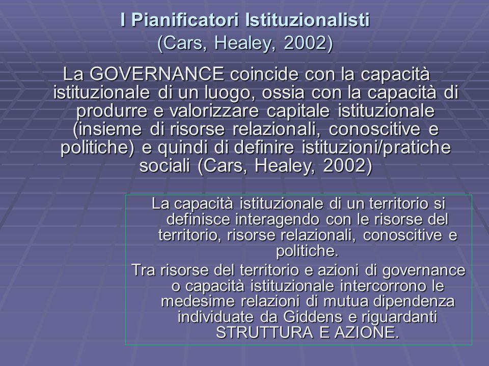 I Pianificatori Istituzionalisti (Cars, Healey, 2002) La capacità istituzionale di un territorio si definisce interagendo con le risorse del territori